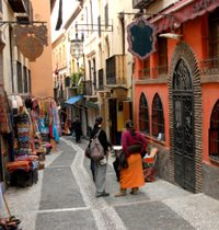 The old arab quarter of Granada is full of narrow alleyways with shops of food and spices and clothing boutiques